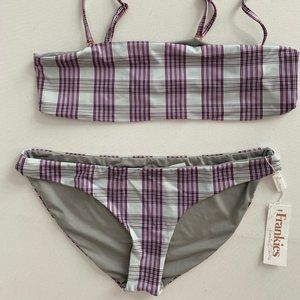 FRANKIES Joy Tartan Bandeau Bikini Set Swimwear